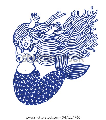 Mermaid smiling - stock vector