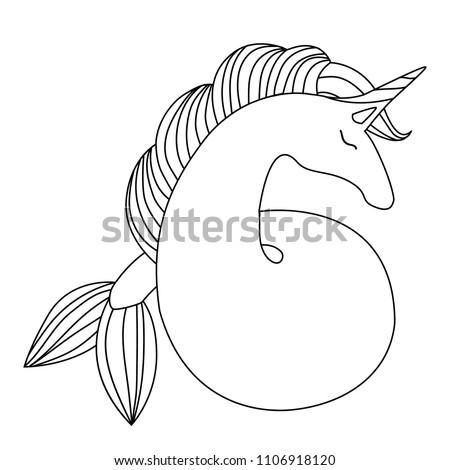 Mermaid Unicorn Cute Magical Unicorn Mermaid Stock Vector ...
