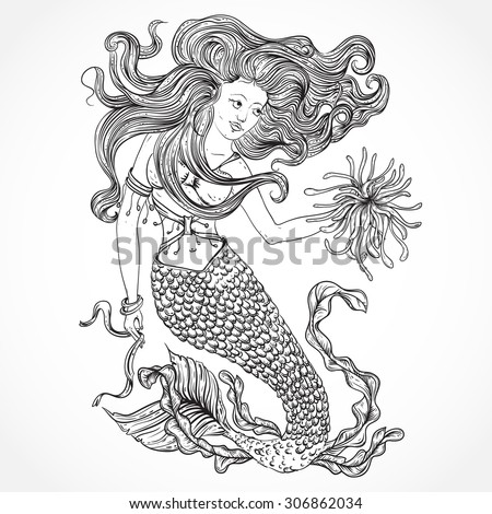 Mermaid with beautiful hair and marine plants. Tattoo art. Retro banner, invitation,card, scrap booking. t-shirt, bag, postcard, poster.Highly detailed hand drawn vector illustration - stock vector