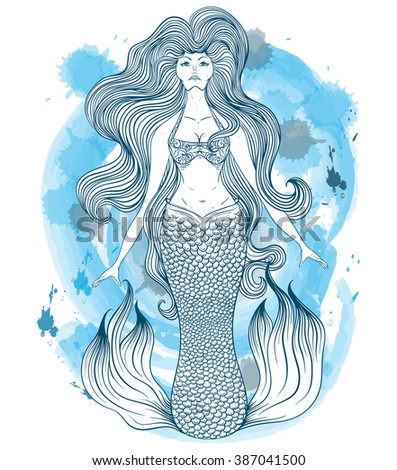 Mermaid with beautiful hair. Tattoo art. Retro banner, invitation,card, scrap booking. t-shirt, bag, postcard, poster. Vintage highly detailed hand drawn vector illustration on watercolor background - stock vector