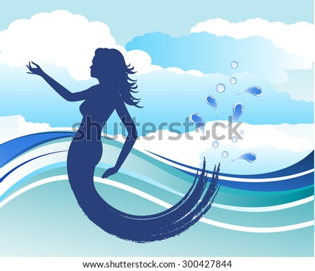 mermaid with clouds and water  - stock vector