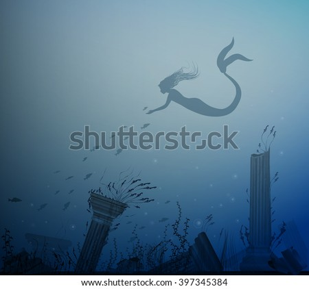 mermaid with fishes and sea bottom with column, Andersen fairytale, vector, - stock vector