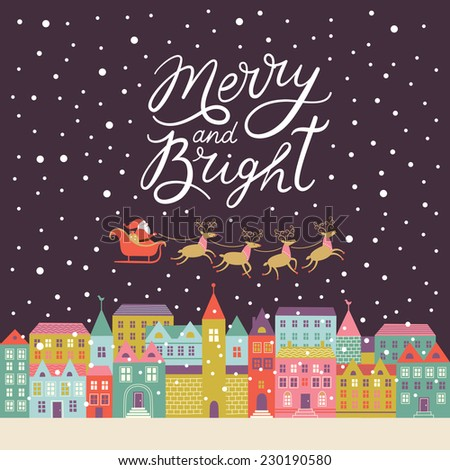 Merry and Bright lettering, Christmas background  - stock vector
