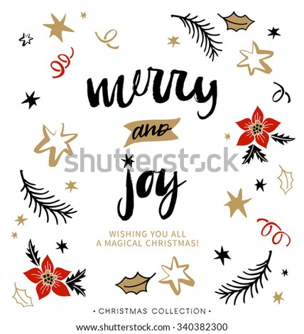 Merry and Joy. Christmas greeting card with calligraphy. Handwritten modern brush lettering. Hand drawn design elements. - stock vector