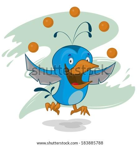merry bird juggling balls - stock vector