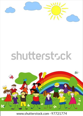 Merry children background with rainbow and sun - stock vector