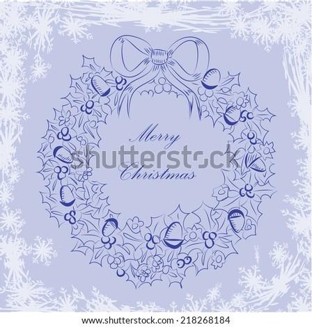 Merry Chrismas wreath - stock vector