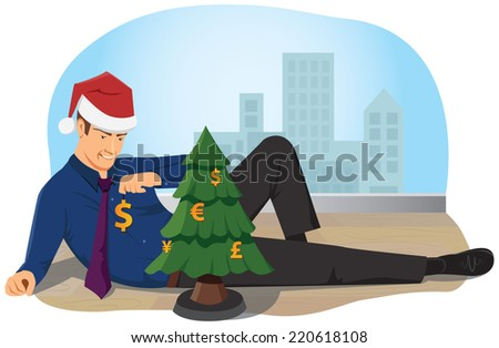 Merry Christmas! A businessman is lying on the floor in the office and decorates the Christmas tree with toys of the currencies symbols. - stock vector