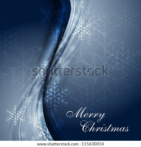 Merry Christmas! Abstract waves and snowflakes. Eps 10 vector design - stock vector