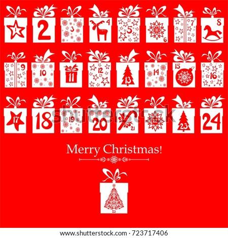 Merry Christmas Advent Calendar 25 Windows Stock Photo Photo
