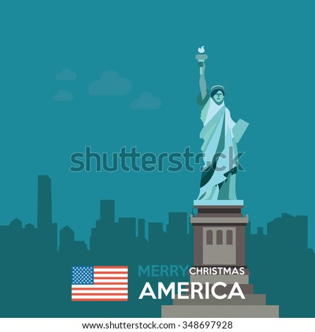 Merry Christmas America - stock vector