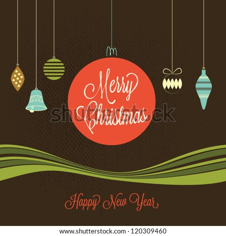 Merry Christmas and a Happy New Year card - stock vector