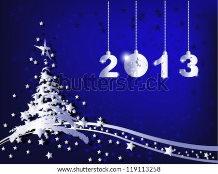 Merry Christmas and Happy New Year 2013 - stock vector