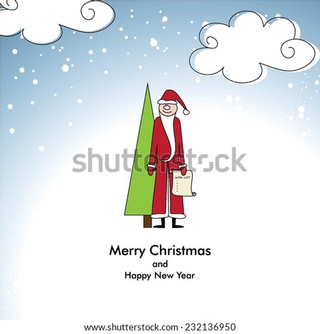 Merry Christmas and Happy New Year - stock vector