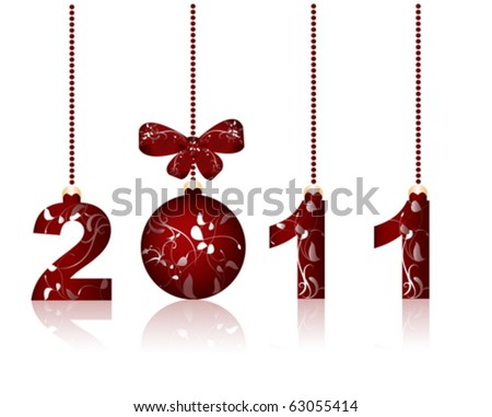 Merry Christmas and Happy New Year 2011 - stock vector