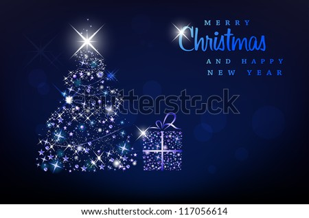 Merry Christmas and Happy New Year background - stock vector