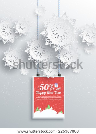 Merry Christmas and Happy New Year background discount percent with snowflake and poster with text. Winter Christmas sale design elements - stock vector