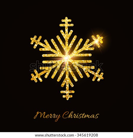 Merry Christmas and Happy New Year background. Golden glitter snowflake on black background. Festive banner. Elegant Greeting card. Vector illustration