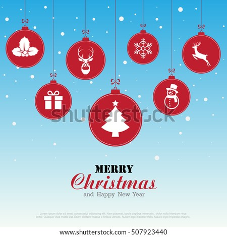 Merry Christmas and Happy New Year background,Illustration eps10