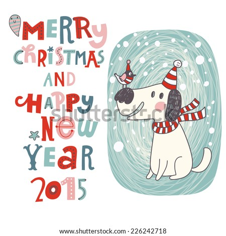 Merry Christmas and Happy New Year background in vector. Cartoon holiday card with cute dog and bird - stock vector