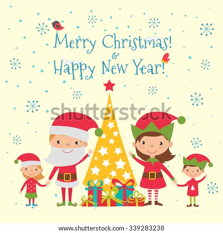 Merry Christmas and Happy New Year Background or Greeting Card. Vector Illustration - stock vector