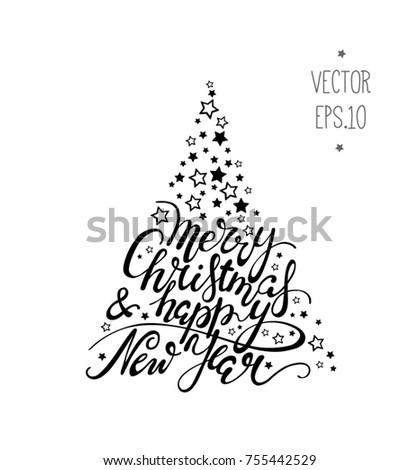 Merry Christmas And Happy New Year Black White Lettering With Stars Shop Window