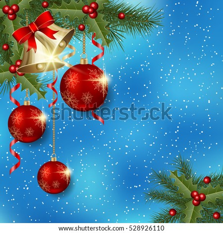 Merry Christmas and Happy New Year blue vector background with fir branches, luxury balls and bells