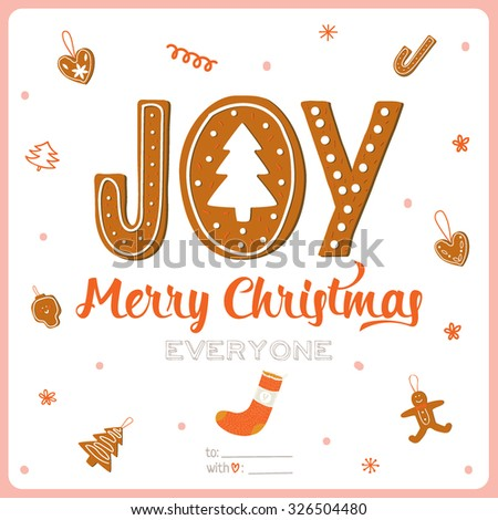 Merry Christmas and Happy New 2016 Year Calligraphic and Typographic Card with Gingerbread lettering and greetings cookies on White Background. Winter Decoration of Holidays Elements for Xmas - stock vector