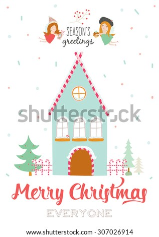 Merry Christmas and Happy New Year Calligraphic and Typographic Wish with Illustration of a Cute Winter House and Xmas Angels on White Background. Greeting hand drawn holidays card. Seasons Greetings - stock vector