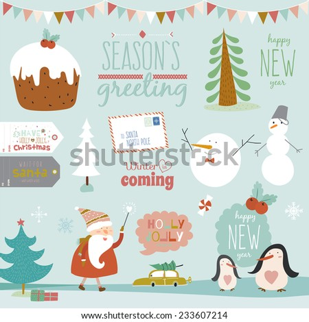 Merry Christmas And Happy New Year calligraphic and typographic wishes and winter elements. Greeting stylish illustration with santa claus and happy penguins and snowman. Scrapbooking - stock vector