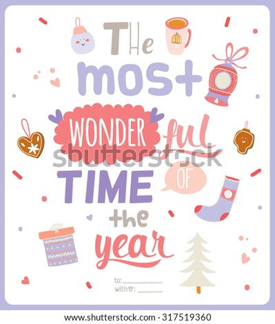 Merry Christmas and Happy New 2016 Year Calligraphic and Typographic Wishes on White Background. Winter Decoration Collection of Holidays Elements. Greeting hand drawn illustration for Xmas - stock vector