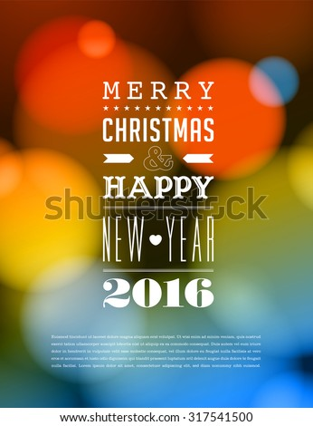 Merry Christmas and Happy New Year 2016 Card - stock vector
