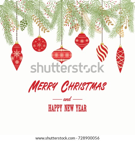 Merry christmas happy new year card christmas stock vector hd merry christmas and happy new year cardristmas invitationeeting card with christmas ornaments stopboris Choice Image