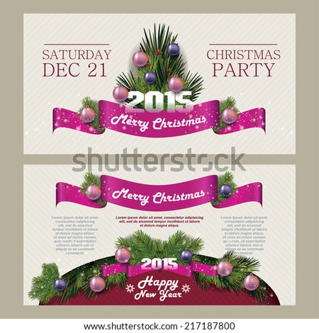 Merry Christmas and Happy New Year Card. Christmas party. 2015. Invitation Merry Christmas.Typography. - stock vector