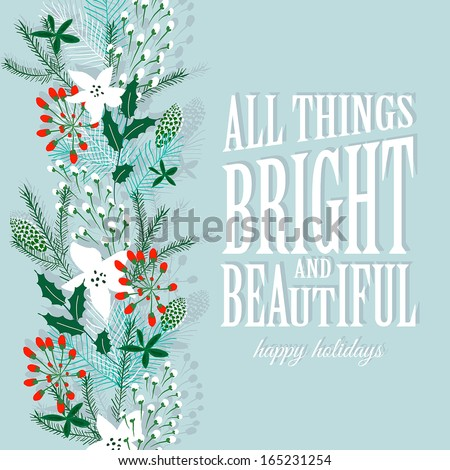 Merry Christmas and Happy New Year Card. Christmas Wreath - stock vector