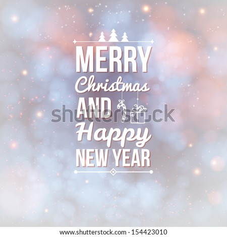 Merry Christmas and Happy new year card. Holiday background and lettering can be easily used together or separately. Vector illustration. - stock vector