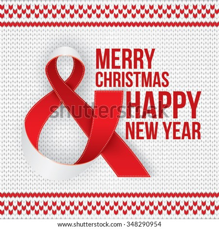 Merry Christmas and Happy New Year card. Photorealistic white ribbon in the shape of Ampersand, the AND Symbol on red knitted background - stock vector