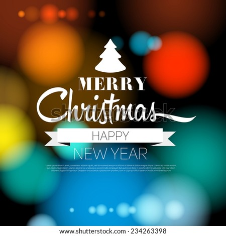 Merry Christmas and Happy New Year 2015 Card - vector EPS10 - stock vector