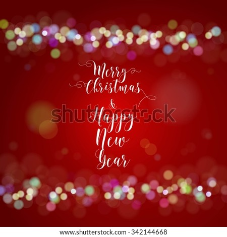Merry Christmas and Happy New Year Card. Vector illustration. - stock vector
