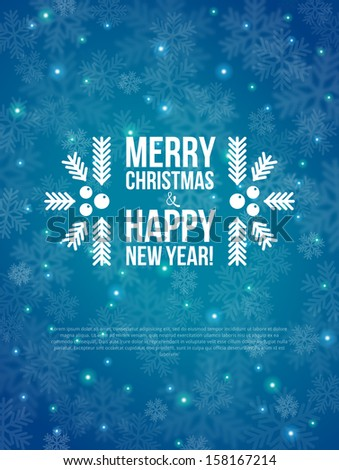 Merry Christmas and Happy New Year Card 2014. Vector illustration. Blurred background. Snow out of focus. - stock vector