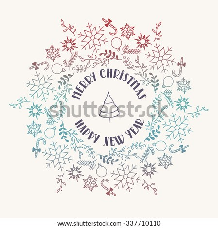 Merry Christmas and Happy New Year card. Vector illustration. Xmas poster, banner, card template. Gradient wreath.  EPS 10. - stock vector