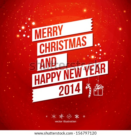 Merry Christmas and Happy New Year 2014 card. White ribbon, red background.  Vector image.  - stock vector