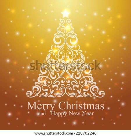 Merry Christmas and Happy New Year Card with beautiful floral Christmas tree. Vector Illustration. - stock vector