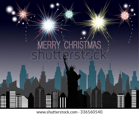 Merry Christmas and happy new year card with fireworks in city - stock vector