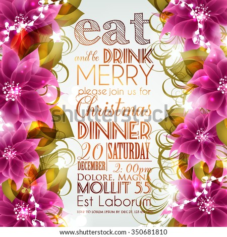 Merry Christmas and Happy New Year Card With Lettering Label, Red Bow And Poinsettia Flowers - stock vector