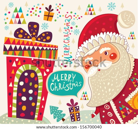 Merry Christmas and Happy New Year card  with Santa - stock vector