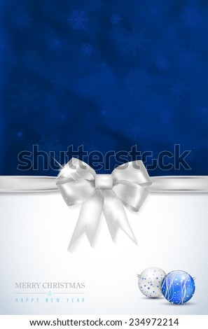 Merry Christmas and Happy New Year card with silver bow, snowflakes and shiny christmas balls. Place for your text - vector illustration. - stock vector