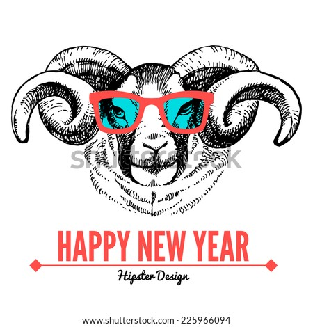Merry Christmas and Happy New Year card with sketch portrait of hipster sheep. Hand drawn vector illustration - stock vector