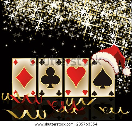 Merry Christmas and Happy new year casino banner, vector illustration - stock vector
