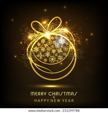 Merry Christmas and Happy New Year celebrations with snowflakes decorated golden X-mas ball on shiny brown background. - stock vector